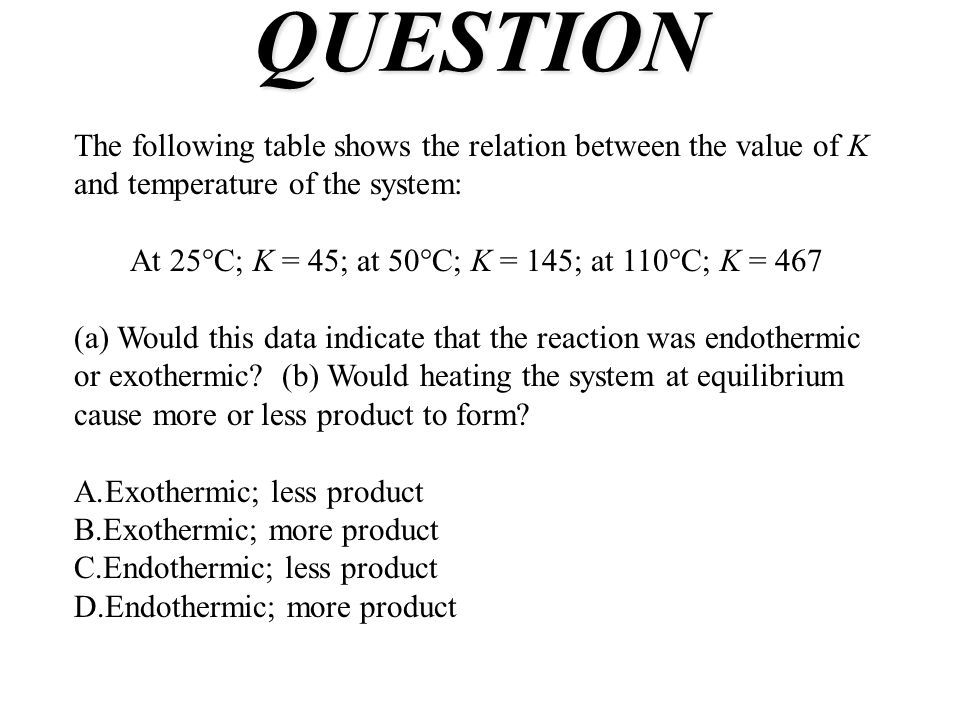 QUESTION The following table shows the relation between the value of K and temperature of the system: At 25°C; K = 45; at 50°C; K = 145; at 110°C; K = 467 (a) Would this data indicate that the reaction was endothermic or exothermic.