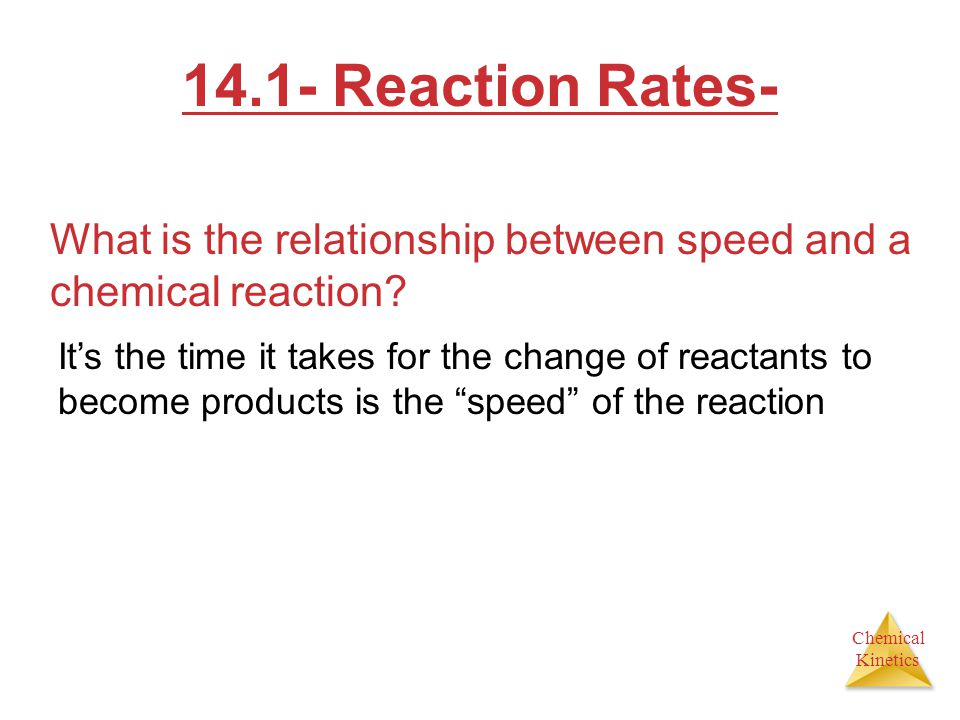 Chemical Kinetics 14.1- Reaction Rates- What is the relationship between speed and a chemical reaction.