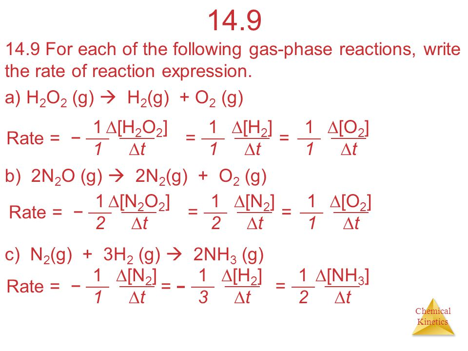 Chemical Kinetics 14.9 14.9 For each of the following gas-phase reactions, write the rate of reaction expression.