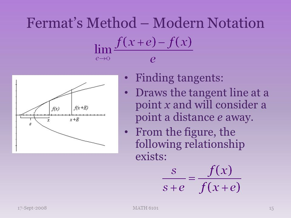 Fermat's Method – Modern Notation Finding tangents: Draws the tangent line at a point x and will consider a point a distance e away.