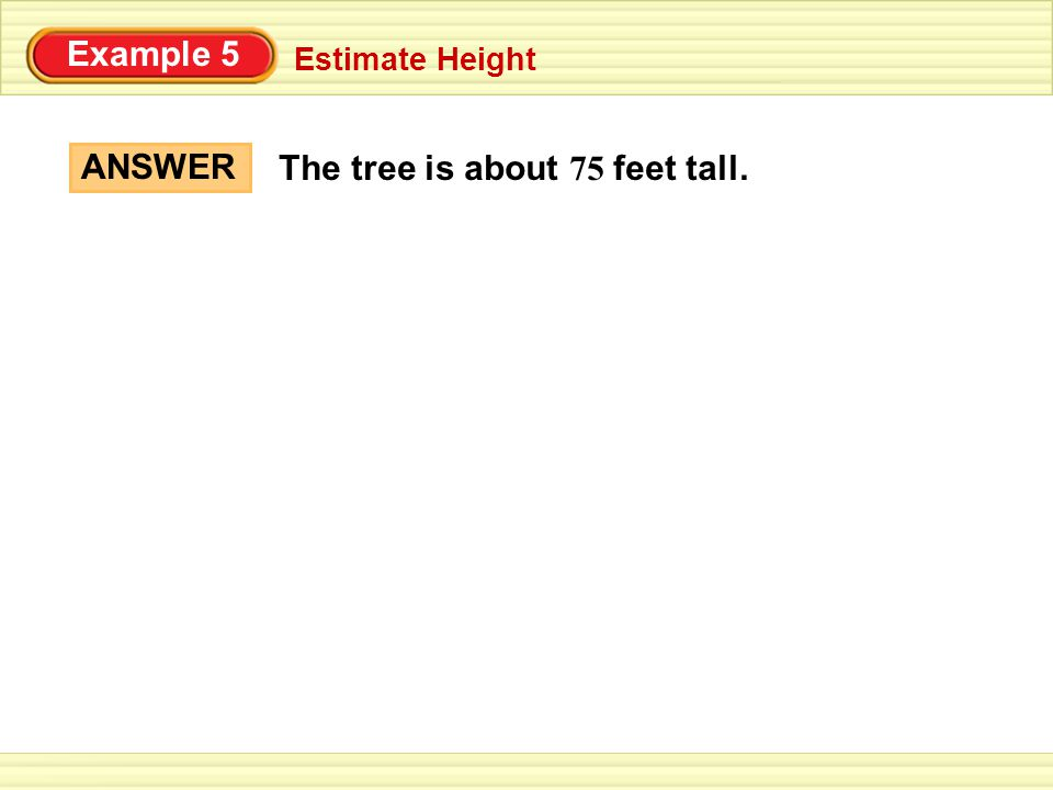Example 5 Estimate Height ANSWER The tree is about 75 feet tall.