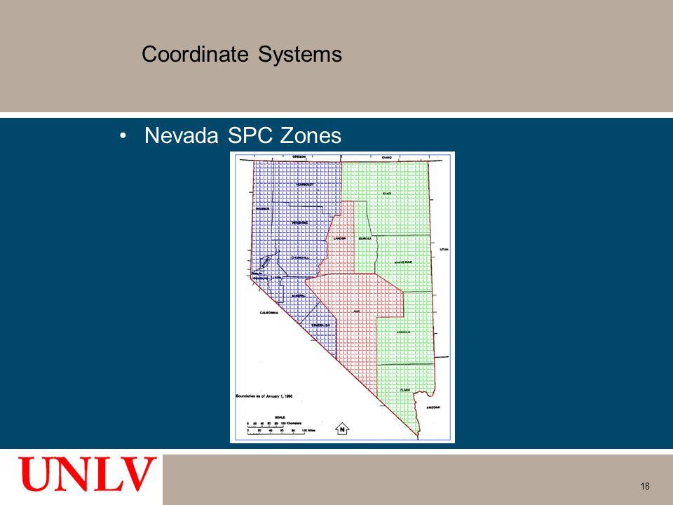 Coordinate Systems Nevada SPC Zones 18