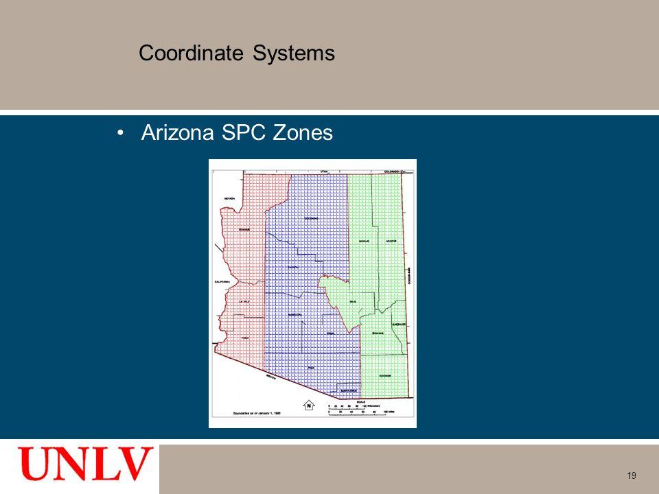 Coordinate Systems Arizona SPC Zones 19