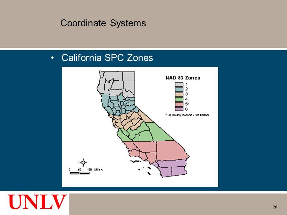 Coordinate Systems California SPC Zones 20
