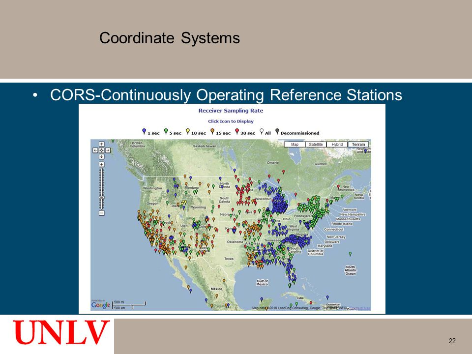 Coordinate Systems CORS-Continuously Operating Reference Stations 22
