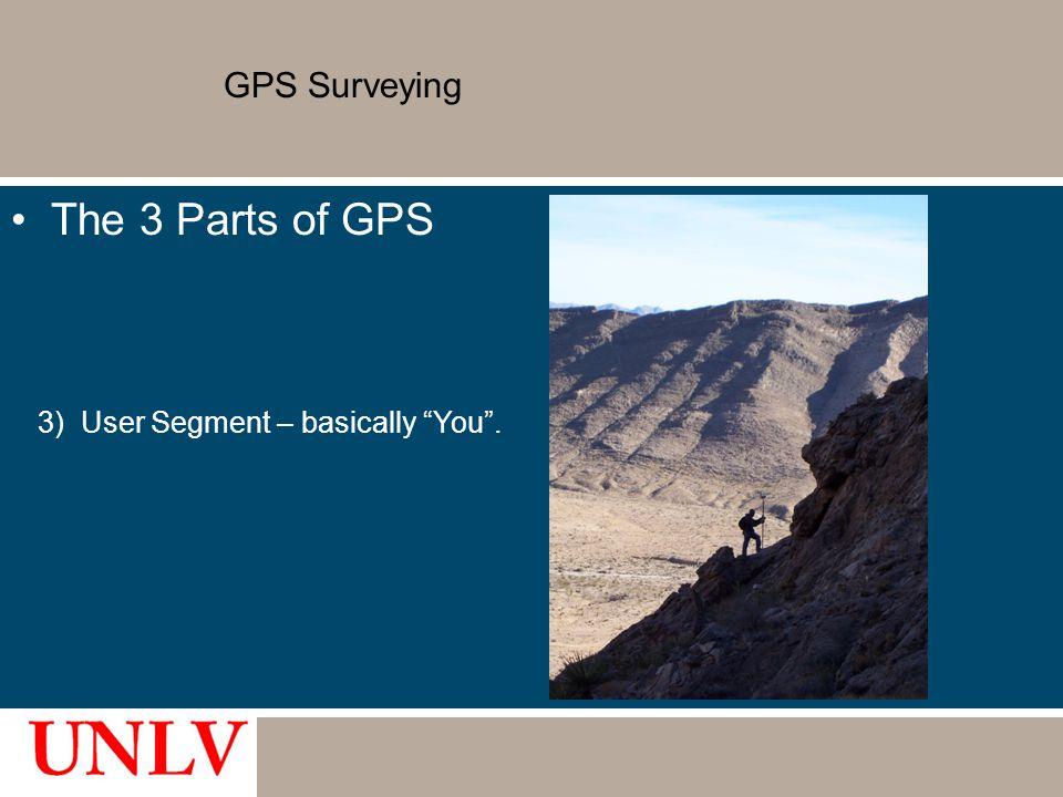 "GPS Surveying The 3 Parts of GPS 3) User Segment – basically ""You""."
