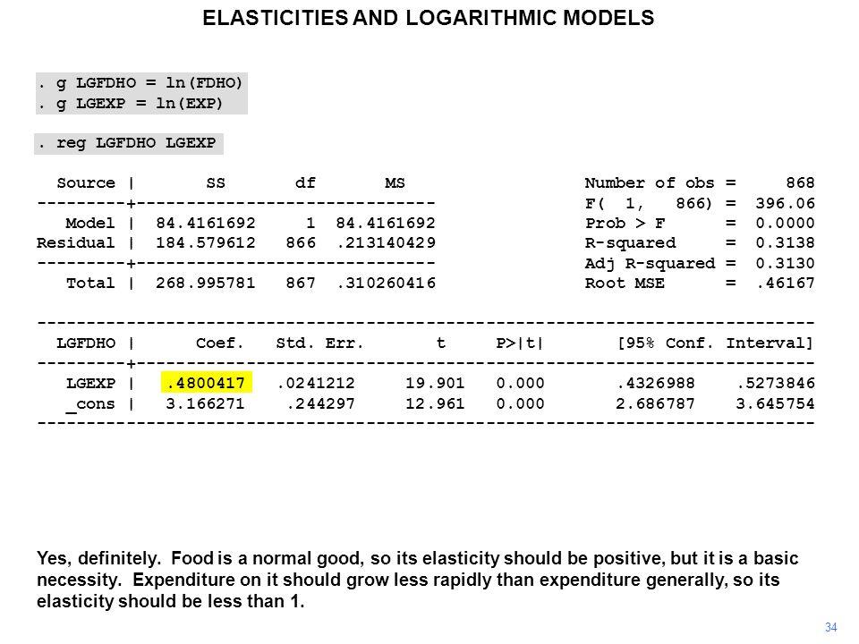 . g LGFDHO = ln(FDHO). g LGEXP = ln(EXP). reg LGFDHO LGEXP Source | SS df MS Number of obs = 868 ---------+------------------------------ F( 1, 866) =
