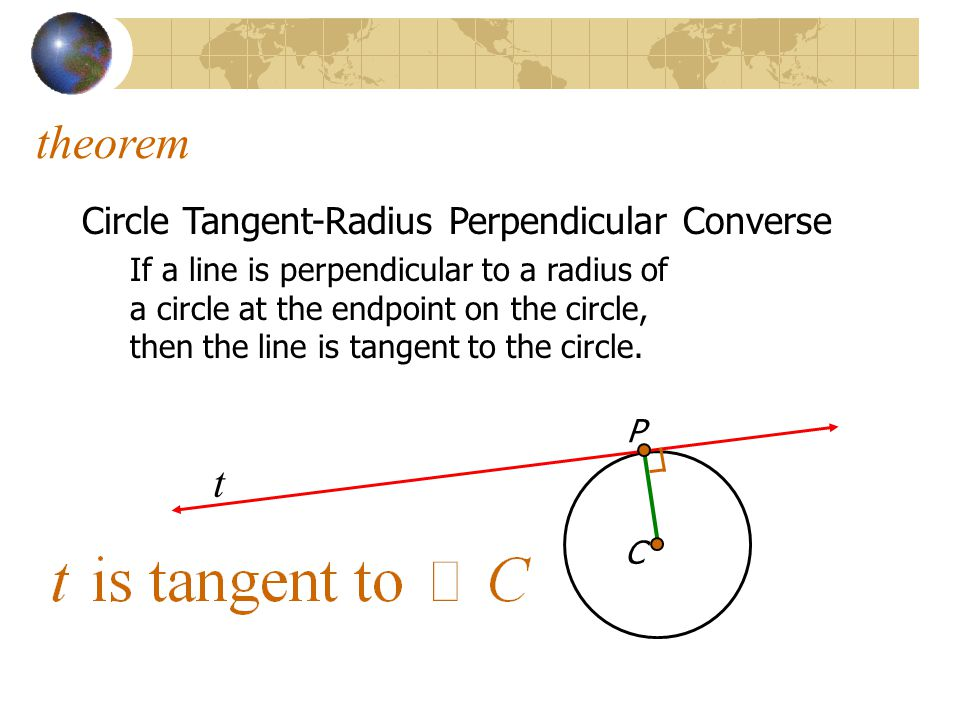 C theorem Circle Tangent-Radius Perpendicular Converse If a line is perpendicular to a radius of a circle at the endpoint on the circle, then the line