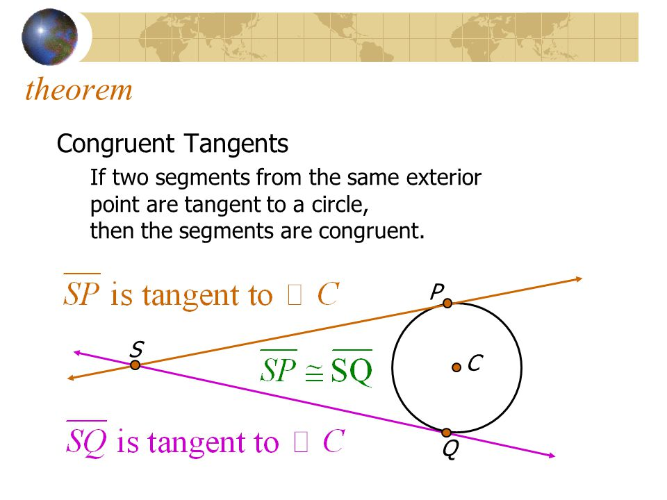 theorem Congruent Tangents If two segments from the same exterior point are tangent to a circle, then the segments are congruent. P C Q S