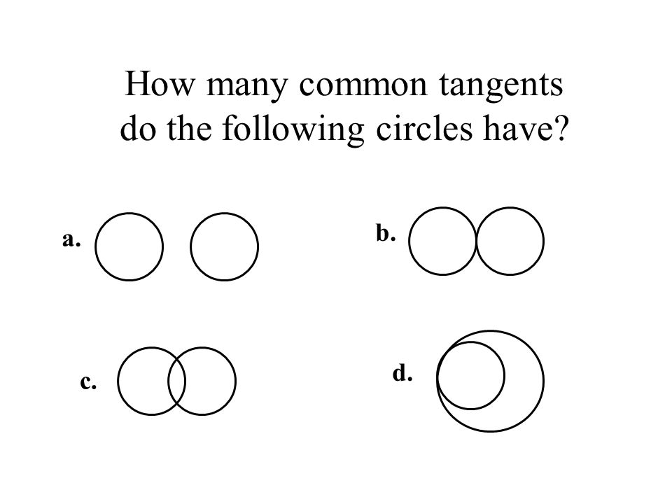 How many common tangents do the following circles have a. b. c. d.