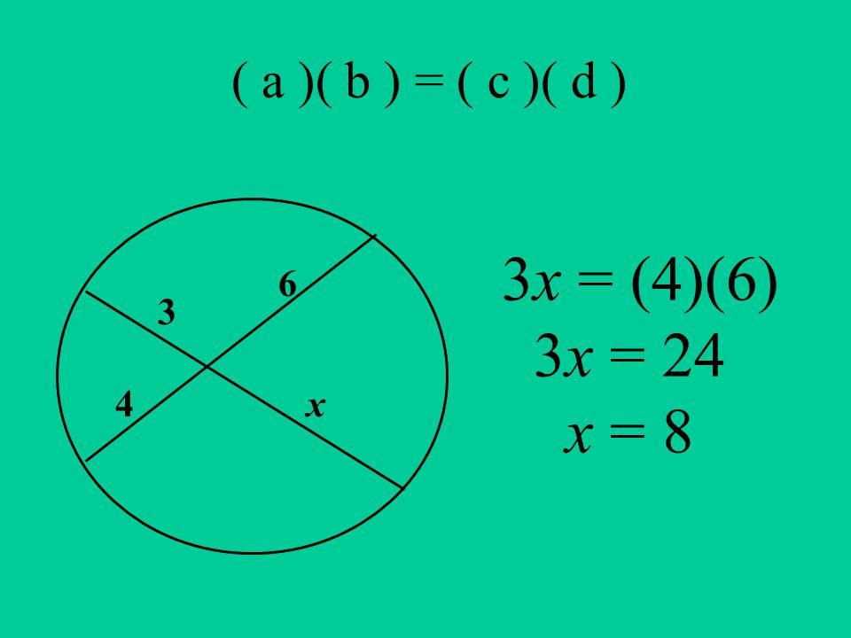( a )( b ) = ( c )( d ) 3 6 4x 3x = (4)(6) 3x = 24 x = 8