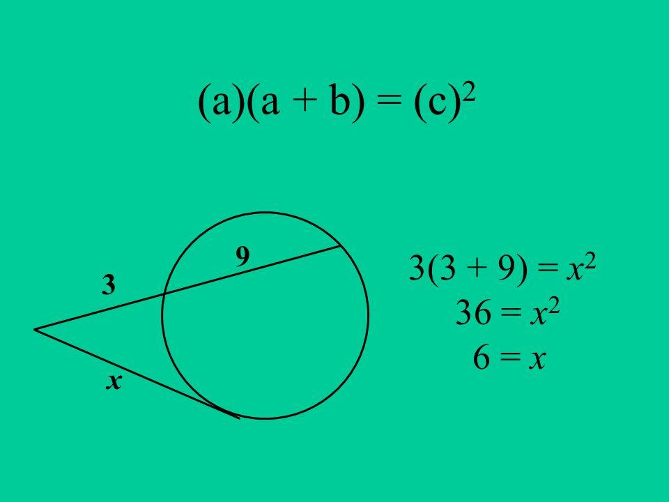 (a)(a + b) = (c) 2 3 9 x 3(3 + 9) = x 2 36 = x 2 6 = x