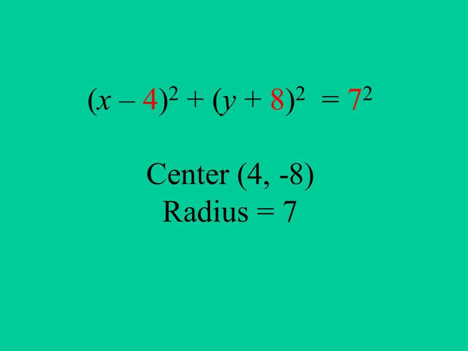 (x – 4) 2 + (y + 8) 2 = 7 2 Center (4, -8) Radius = 7