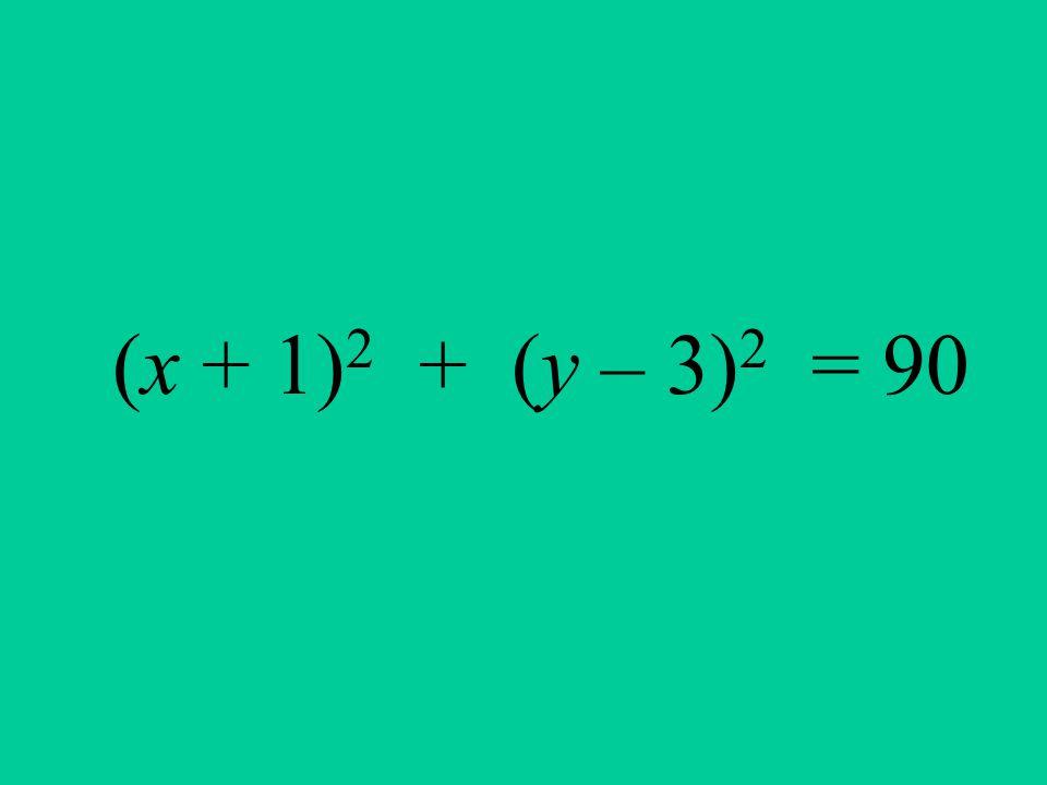 (x + 1) 2 + (y – 3) 2 = 90
