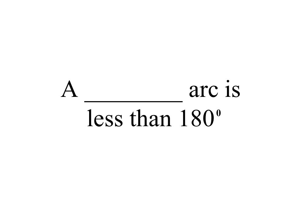 A ________ arc is less than 180 0