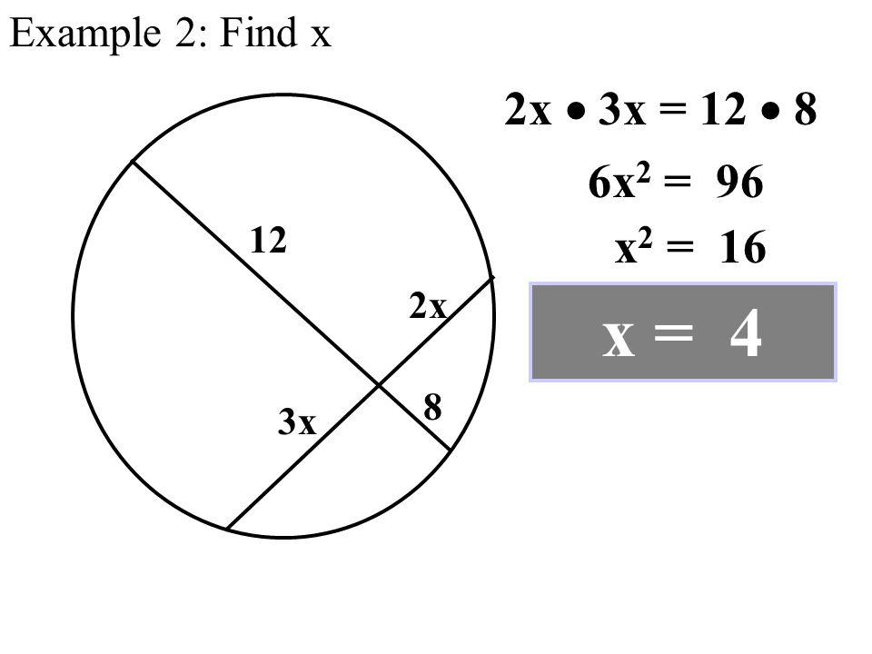 Example 2: Find x 8 12 2x 3x 2x  3x = 12  8 6x 2 = 96 x 2 = 16 x = 4
