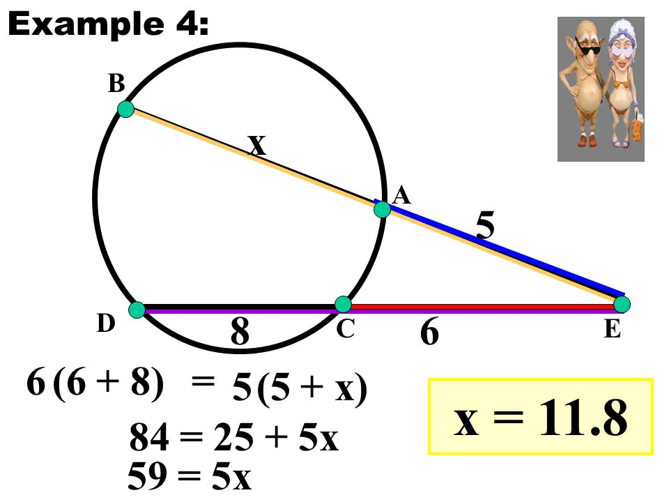 E A B C D 8 5 6 x 6(6 + 8) 5(5 + x) = Example 4: 84 = 25 + 5x 59 = 5x x = 11.8