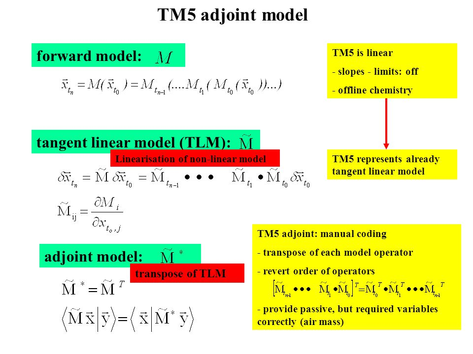 TM5 adjoint model forward model: tangent linear model (TLM): adjoint model: TM5 is linear - slopes - limits: off - offline chemistry TM5 represents already tangent linear model TM5 adjoint: manual coding - transpose of each model operator - revert order of operators - provide passive, but required variables correctly (air mass) Linearisation of non-linear model transpose of TLM