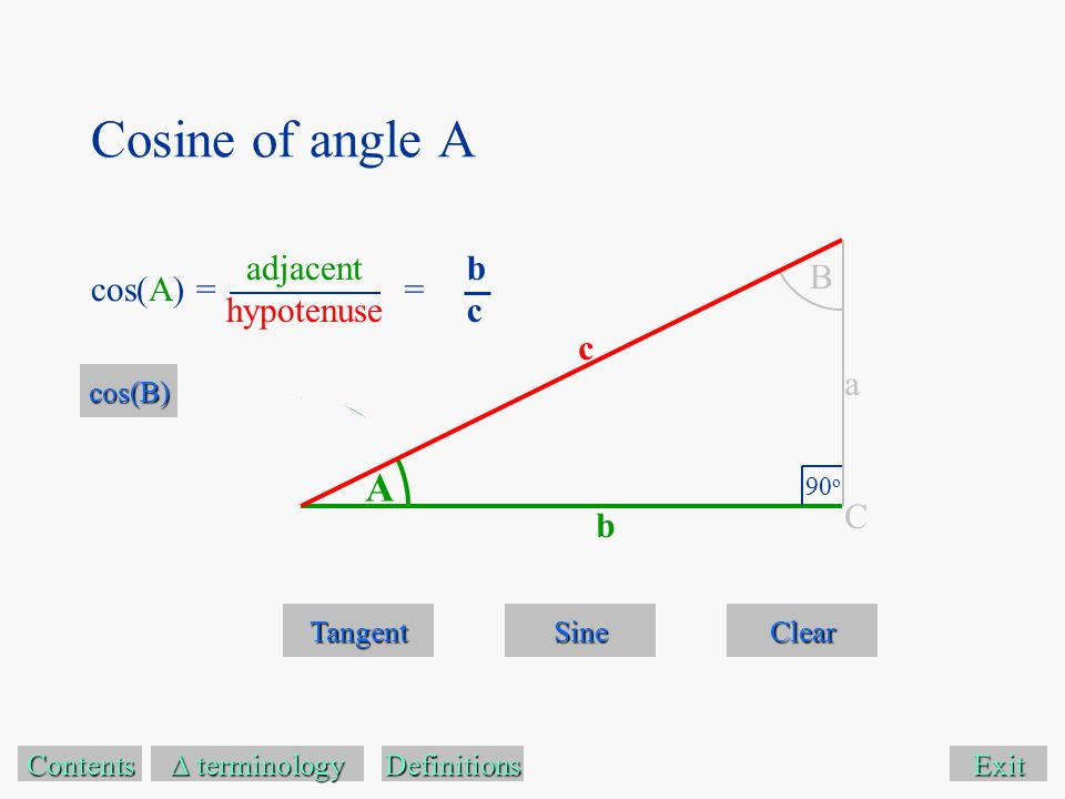 Cosine of angle A Exit Tangent Sine Clear Contents  terminology  terminology A B 90 o C a c b Definitions cos(A) == bcbc cos(B) adjacent hypotenuse