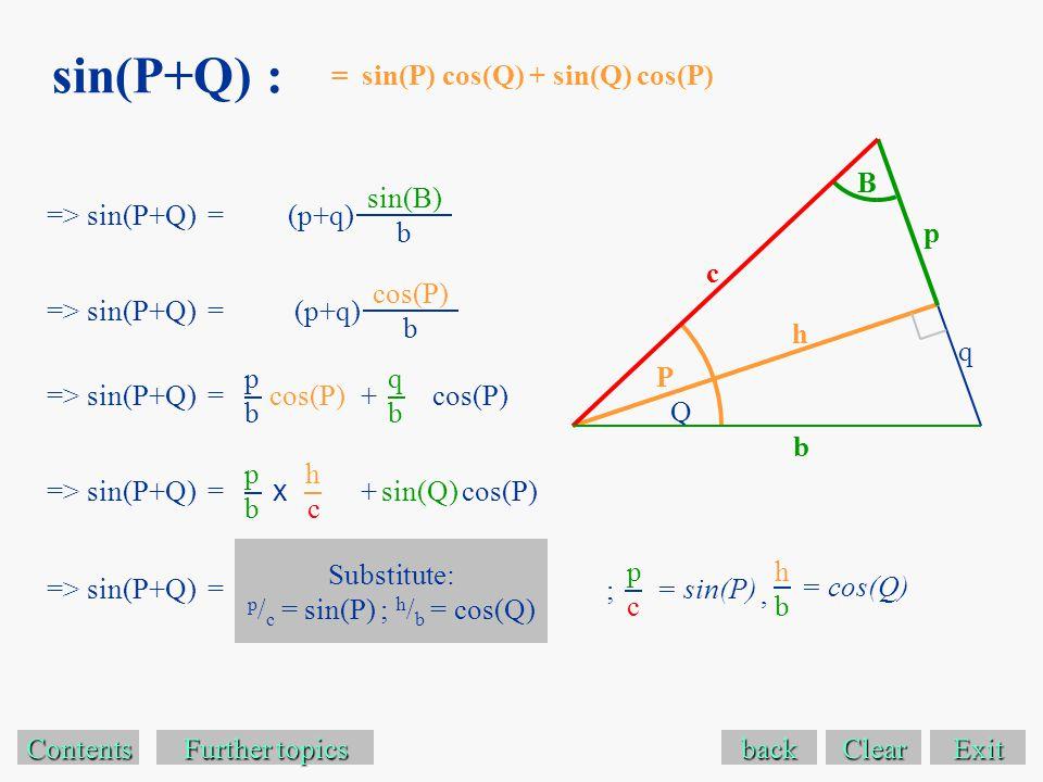 sin(P+Q) : Exit Contents Further topics Further topics => sin(P+Q) =(p+q) back sin(B) b = sin(P) cos(Q) + sin(Q) cos(P) => sin(P+Q) =(p+q) cos(P) b => sin(P+Q) = pbpb cos(P) qbqb + => sin(P+Q) = pbpb sin(Q) + hchc x => sin(P+Q) = cos(P) Substitute: p / c = sin(P) ; h / b = cos(Q) p b B P q Q c h = sin(P) pcpc = cos(Q) hbhb ;, Clear