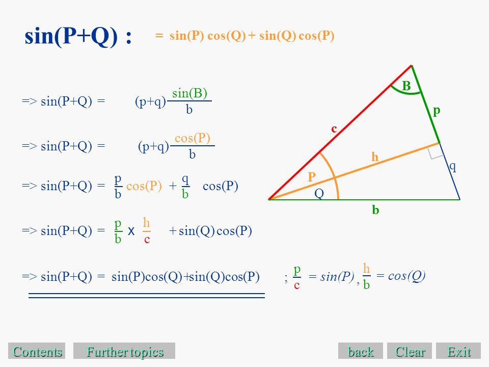 sin(P+Q) : Exit Contents Further topics Further topics => sin(P+Q) =(p+q) back sin(B) b = sin(P) cos(Q) + sin(Q) cos(P) p b B P q Q => sin(P+Q) =(p+q) cos(P) b c h => sin(P+Q) = pbpb cos(P) qbqb + => sin(P+Q) = pbpb sin(Q)+ hchc x => sin(P+Q) = cos(P) sin(Q)cos(P)+ sin(P)cos(Q) = sin(P) pcpc = cos(Q) hbhb ;, Clear