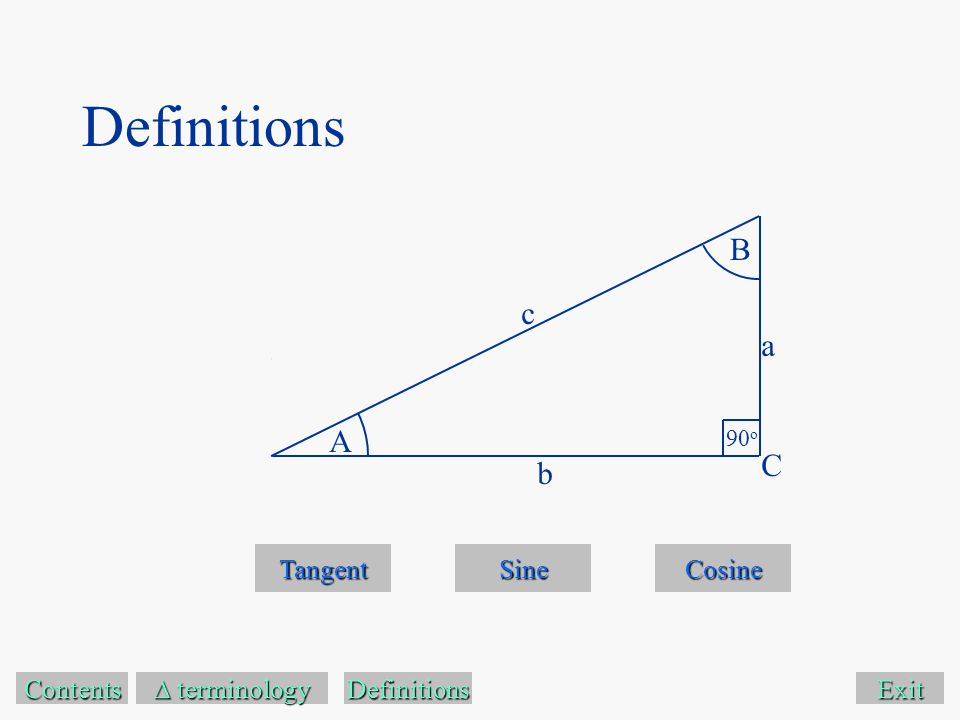 Exit Tangent Sine Cosine Contents  terminology  terminology A B 90 o C a c b Definitions