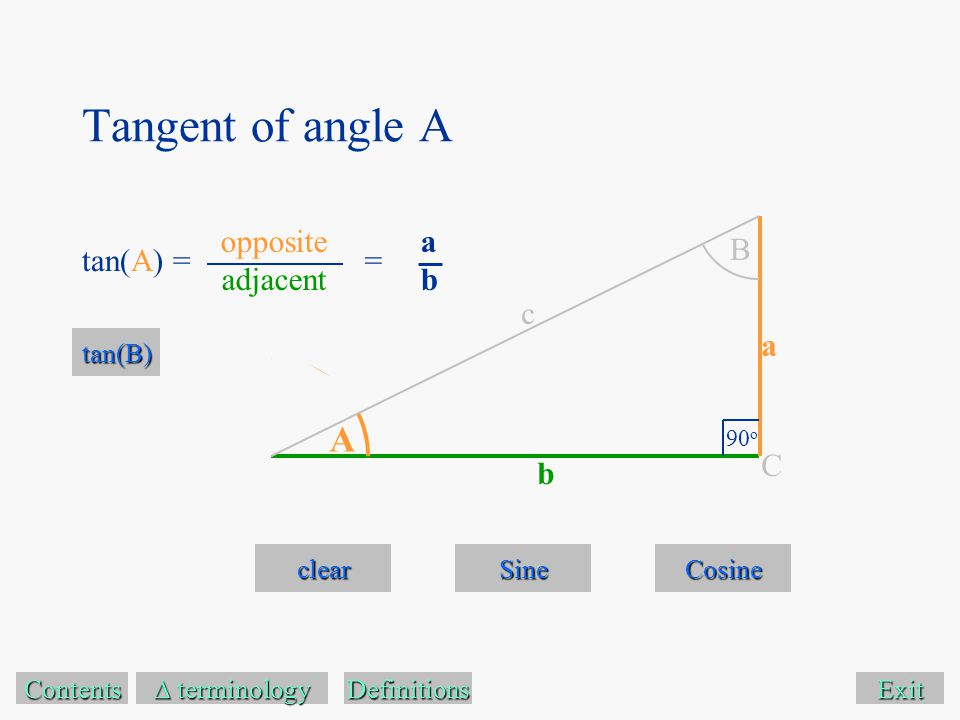Exit clear Sine Cosine Contents  terminology  terminology A B 90 o C a c b Definitions tan(A) = tan(B) Tangent of angle A opposite adjacent abab =