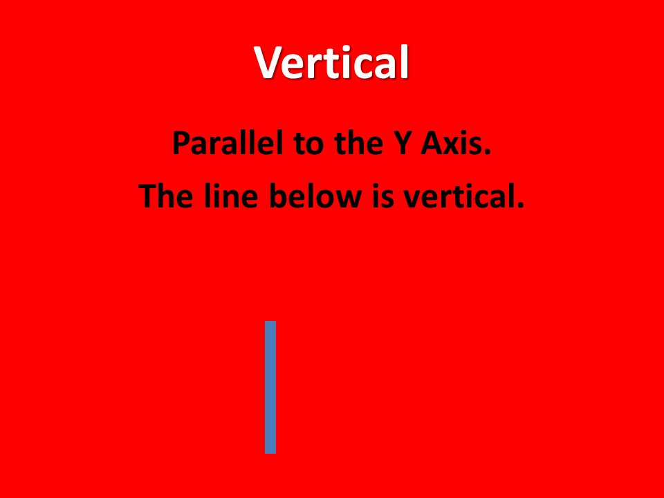 Vertical Parallel to the Y Axis. The line below is vertical.