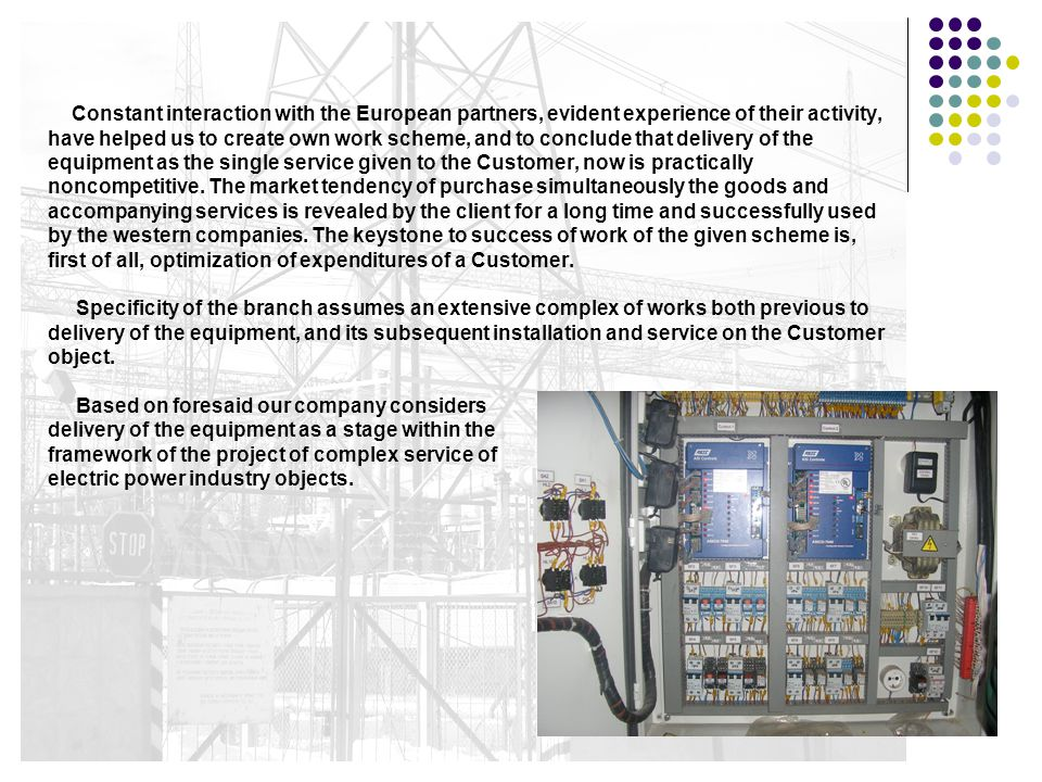 5. Complex delivery of the electro power equipment and accessories for electric power industry objects: Wide range of the offered equipment produced b