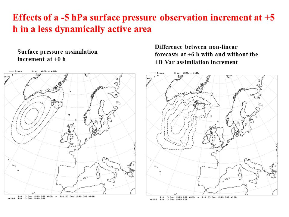 Effects of a -5 hPa surface pressure observation increment at +5 h in a less dynamically active area Surface pressure assimilation increment at +0 h D