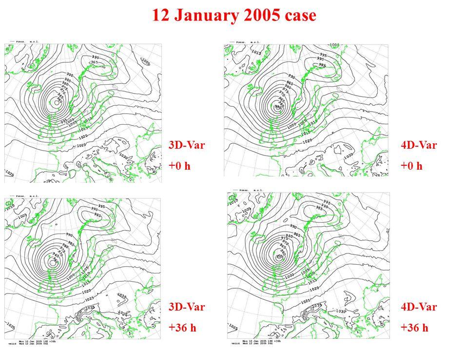 12 January 2005 case 3D-Var +0 h 4D-Var +0 h 3D-Var +36 h 4D-Var +36 h