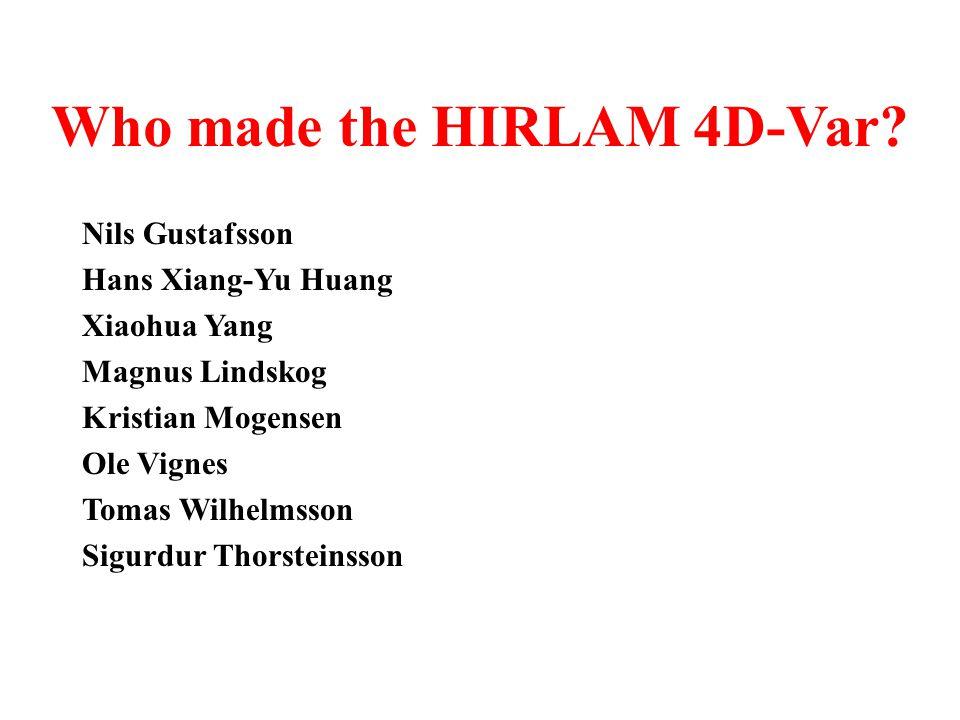 HIRLAM 4D-Var Developments.