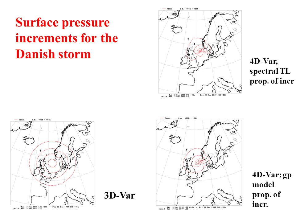 Surface pressure increments for the Danish storm 3D-Var 4D-Var, spectral TL prop. of incr 4D-Var; gp model prop. of incr.