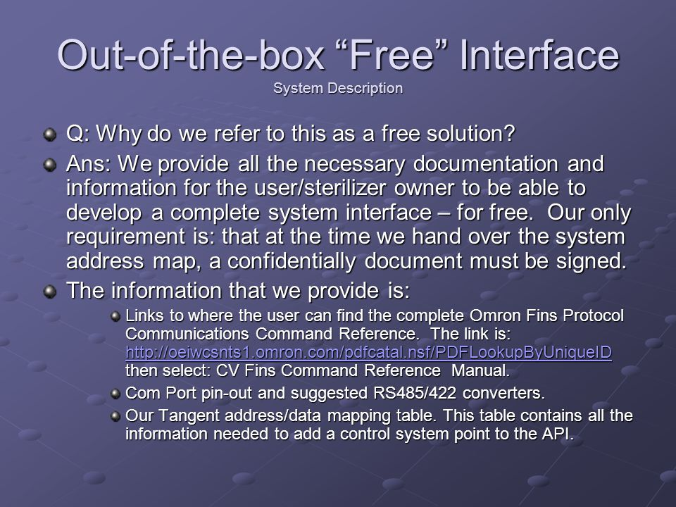Out-of-the-box Free Interface System Description Q: Why do we refer to this as a free solution.