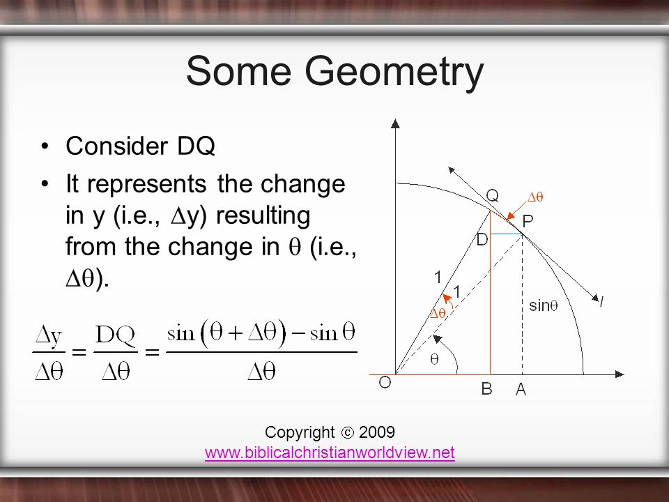 Some Geometry Consider DQ It represents the change in y (i.e.,  y) resulting from the change in  (i.e.,  ).