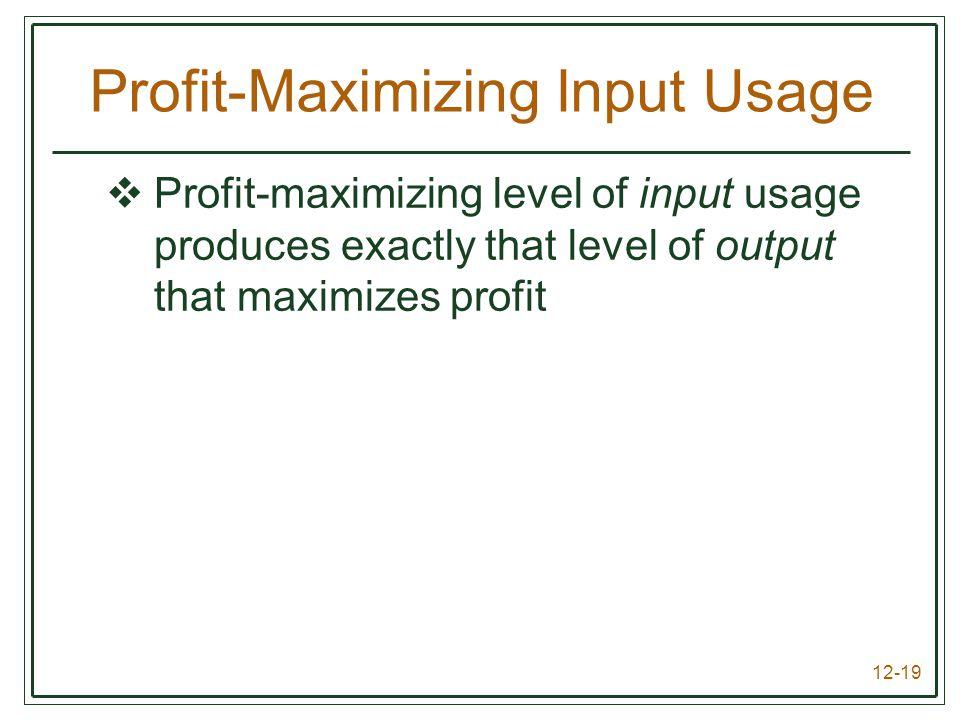12-19 Profit-Maximizing Input Usage  Profit-maximizing level of input usage produces exactly that level of output that maximizes profit