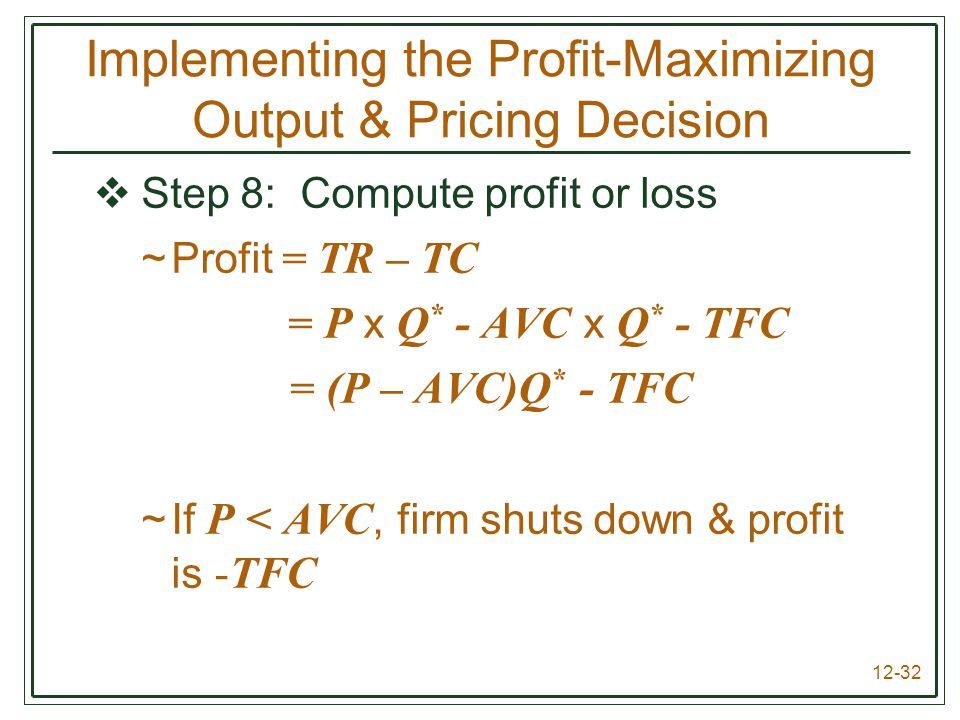 12-32  Step 8: Compute profit or loss ~Profit = TR – TC = P x Q * - AVC x Q * - TFC = (P – AVC)Q * - TFC ~If P < AVC, firm shuts down & profit is -TF