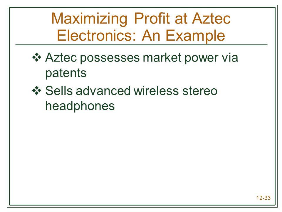 12-33 Maximizing Profit at Aztec Electronics: An Example  Aztec possesses market power via patents  Sells advanced wireless stereo headphones
