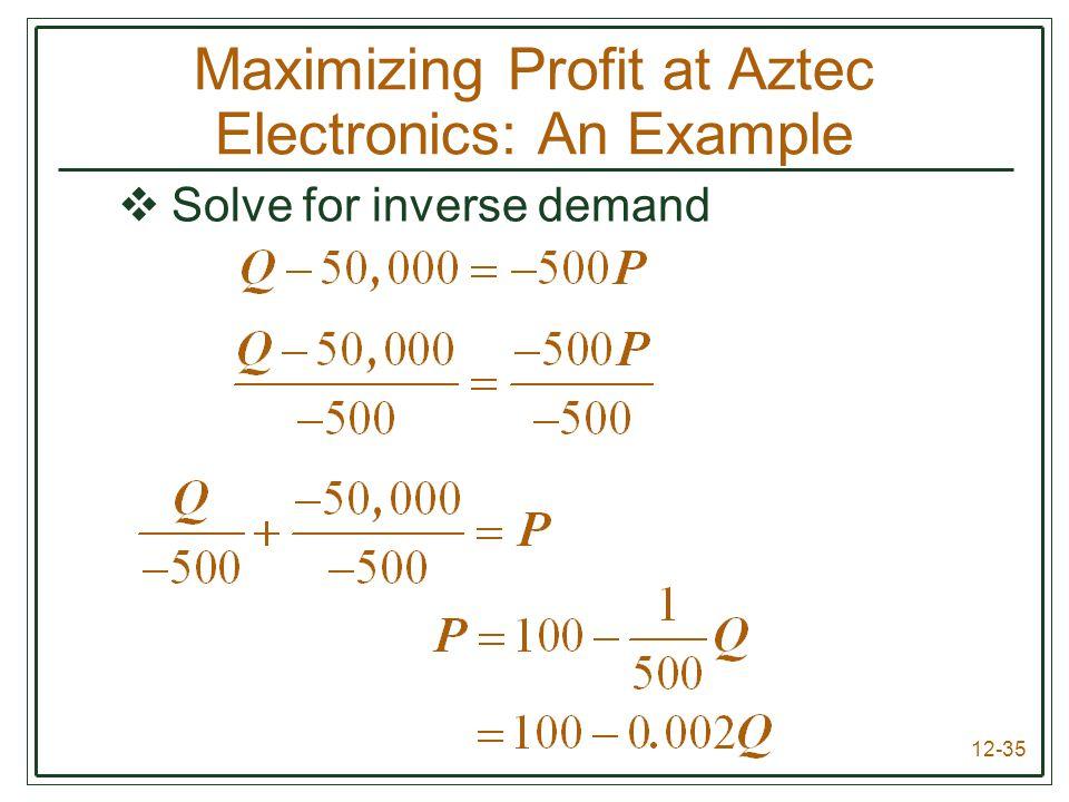 12-35  Solve for inverse demand Maximizing Profit at Aztec Electronics: An Example