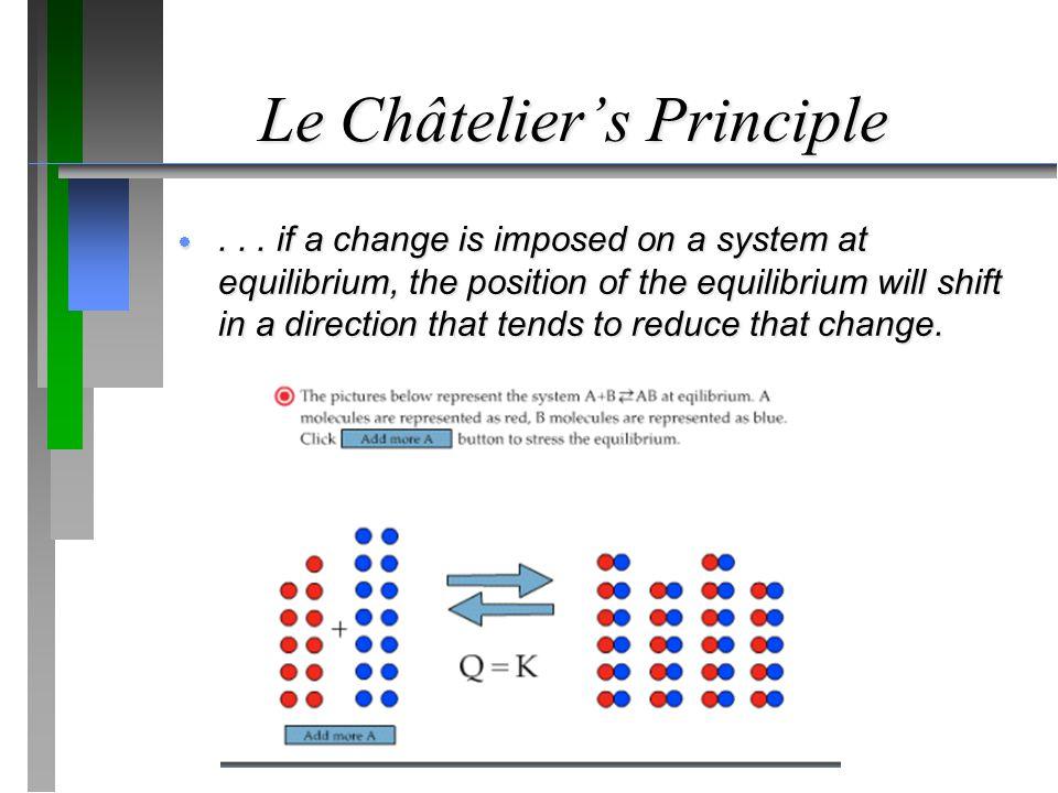 Le Châtelier's Principle ... if a change is imposed on a system at equilibrium, the position of the equilibrium will shift in a direction that tends
