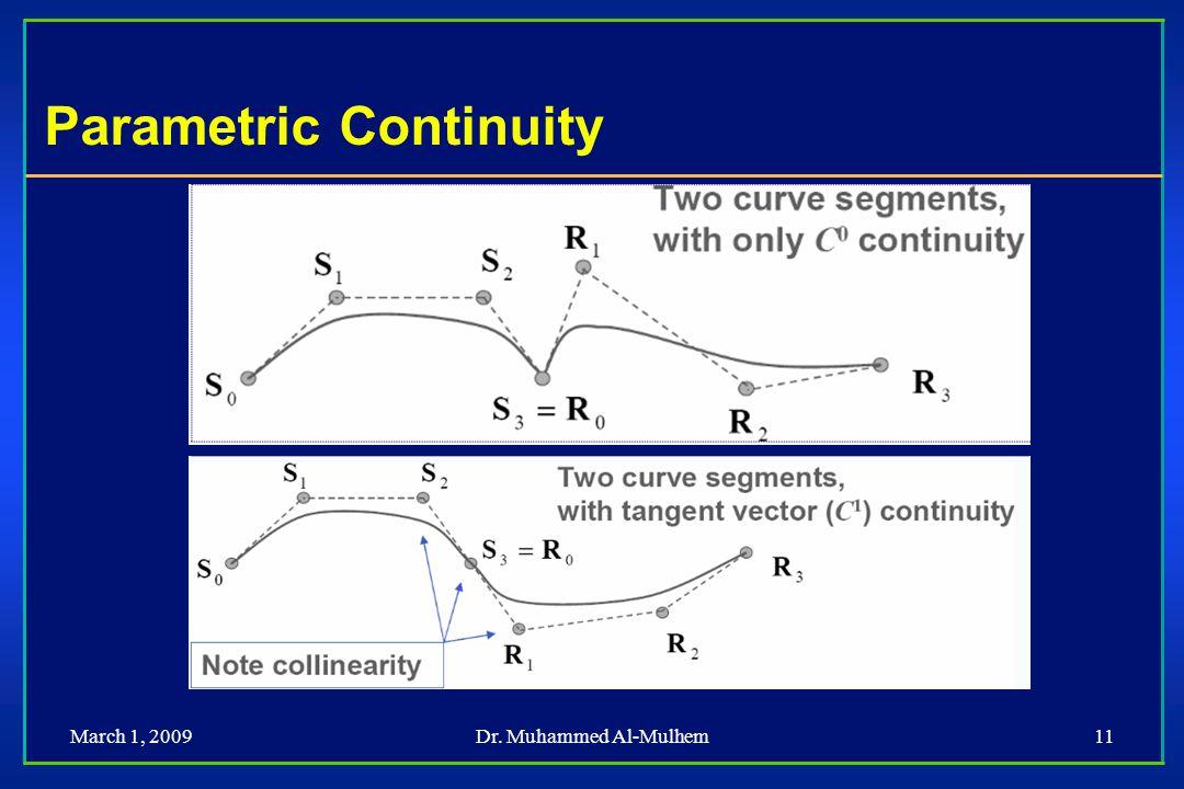 March 1, 2009Dr. Muhammed Al-Mulhem11 Parametric Continuity