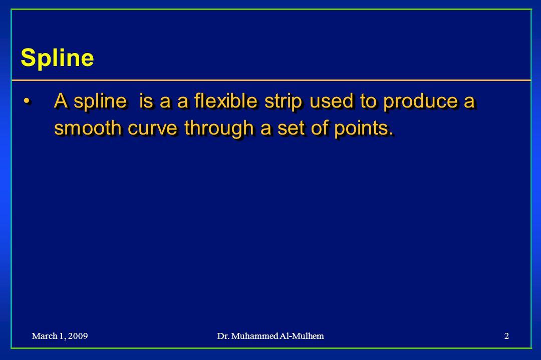 Dr. Muhammed Al-Mulhem2 Spline A spline is a a flexible strip used to produce a smooth curve through a set of points.A spline is a a flexible strip us