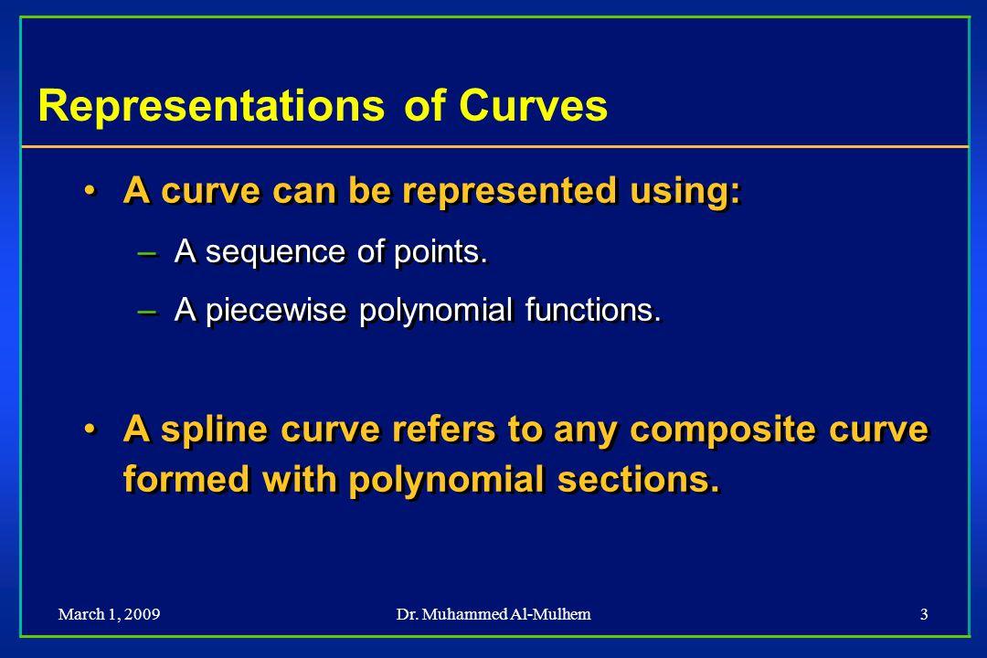 March 1, 2009Dr. Muhammed Al-Mulhem34 Spline and Geometry Matrices M Hermite G Hermite