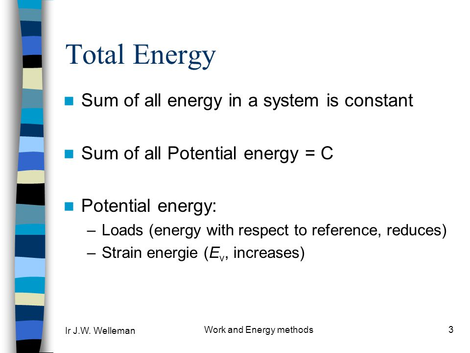 Ir J.W. Welleman Work and Energy methods3 Total Energy Sum of all energy in a system is constant Sum of all Potential energy = C Potential energy: –Lo