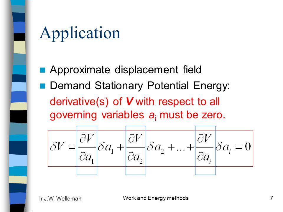 Ir J.W. Welleman Work and Energy methods8 Example : Beam F l w(x)w(x) z, w x