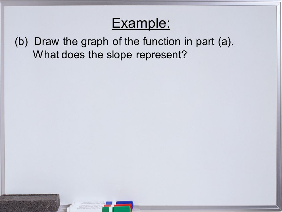 Example: (b) Draw the graph of the function in part (a). What does the slope represent?