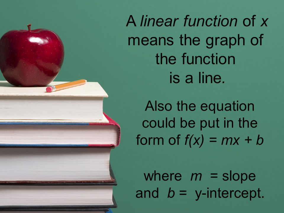 A linear function of x means the graph of the function is a line.