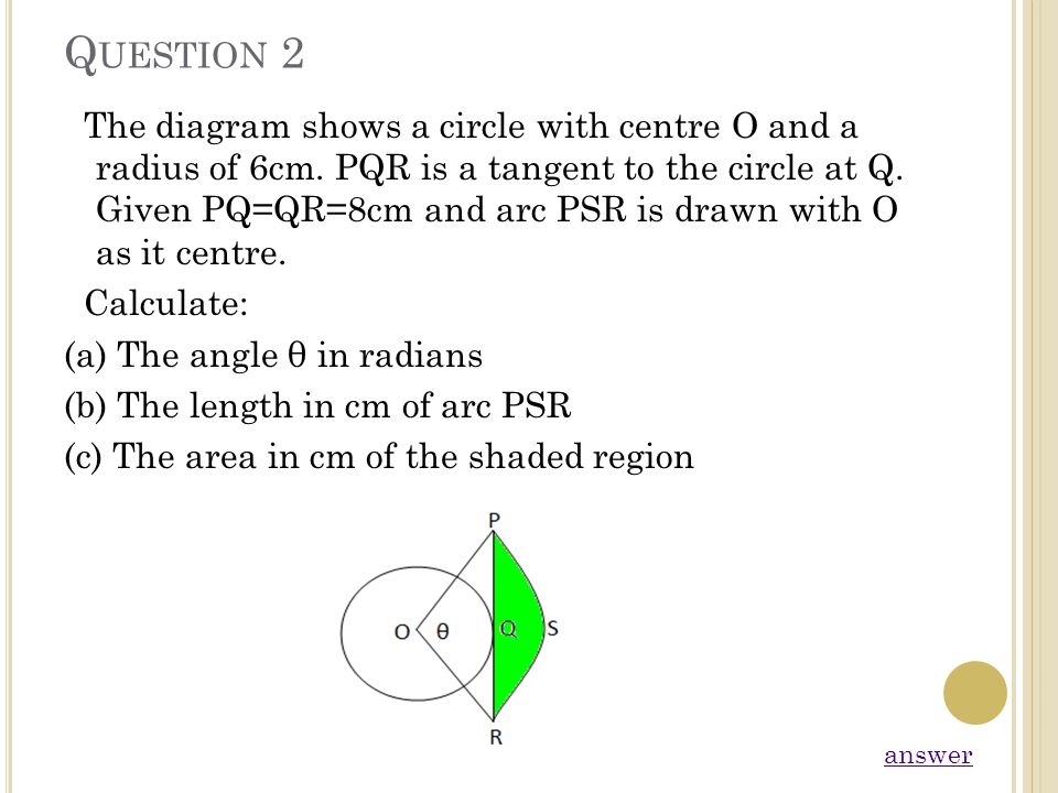 Q UESTION 2 The diagram shows a circle with centre O and a radius of 6cm. PQR is a tangent to the circle at Q. Given PQ=QR=8cm and arc PSR is drawn wi