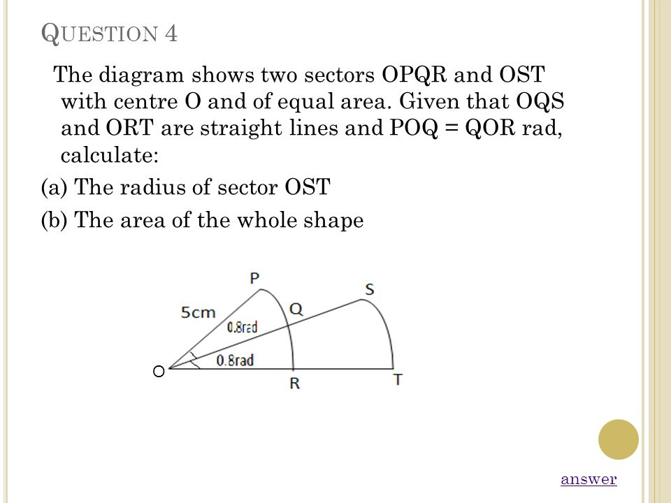 Q UESTION 4 The diagram shows two sectors OPQR and OST with centre O and of equal area. Given that OQS and ORT are straight lines and POQ = QOR rad, c