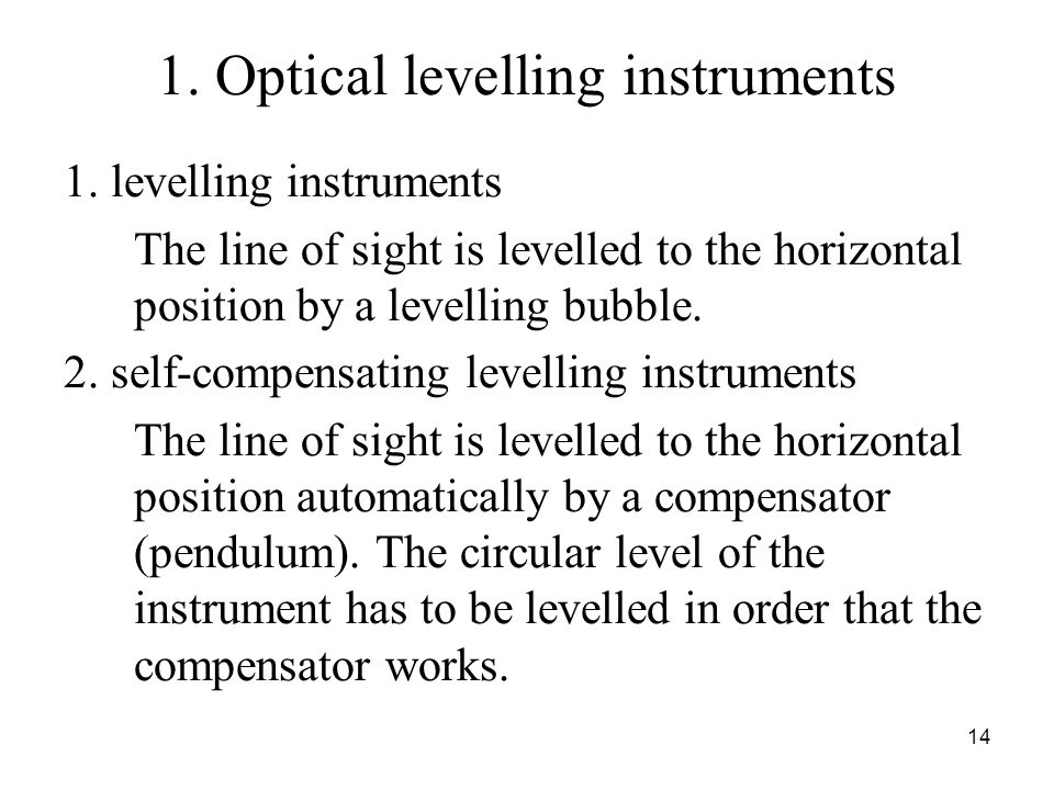 1. Optical levelling instruments 1.